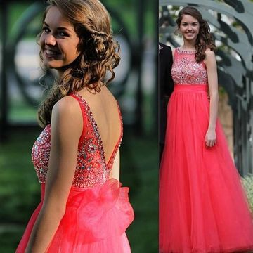 Long Cute Red A-line Sleeveless Backless Beading Prom Dresses 2018 Open Back For Short Girls