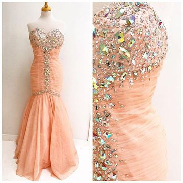 Long Sexy Pink Mermaid Sweetheart Sleeveless Backless Crystal Detailing Prom Dresses 2018 Open Back