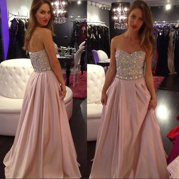 Long Junior A-line Sweetheart Sleeveless Zipper Crystal Detailing Prom Dresses 2018