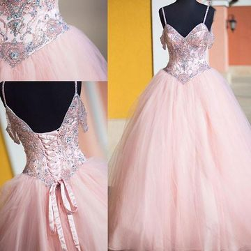 Long Elegant Pink Ball Gown Spaghetti Straps Sleeveless Corset Prom Dresses 2018 Princess