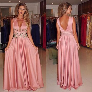 Long A-line Straps Sleeveless Backless Embroidery Prom Dresses 2019 Open Back