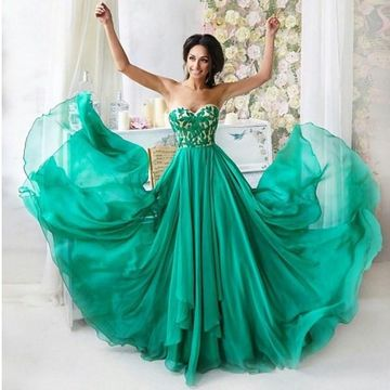 Long Junior Green A-line Sweetheart Sleeveless Backless Embroidery Prom Dresses 2019 Open Back Chiffon
