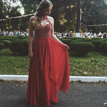 Long Junior Red A-line Halter Sleeveless Appliques Prom Dresses 2018 Chiffon Sexy