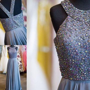 Long Junior Grey A-line Halter Sleeveless Backless Beading Prom Dresses 2018 Open Back Chiffon