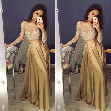 Gold A-line Long Sleeves Zipper Appliques Prom Dresses 2019 Lace Two Piece