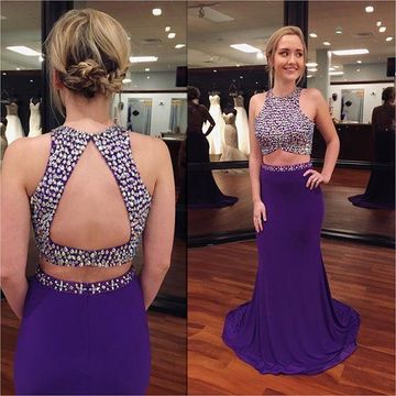 Jewel Sleeveless Sweep Train Two Pieces Prom Dresses 2018