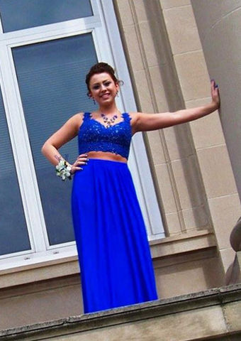 Blue Lace Beading Sleeveless Two Pieces Prom Dresses 2018 ...