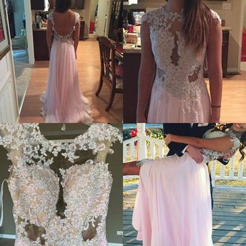 Long Sexy A-line Capped Sleeves Backless Appliques Prom Dresses 2018 Open Back Chiffon