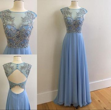 Long Sexy Blue A-line Sleeveless Backless Embroidery Prom Dresses 2018 Open Back Chiffon