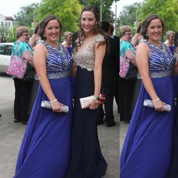 Long Plus Size Blue A-line Sleeveless Zipper Beading Prom Dresses 2018