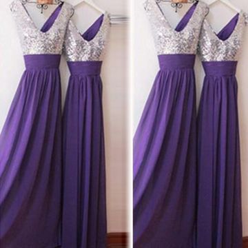 Purple A-line V-Neck Sleeveless Zipper Beading Prom Dresses 2018 Chiffon