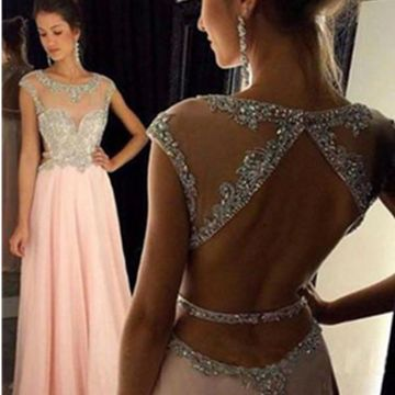 Long A-line Round Neck Capped Sleeves Backless Beading Prom Dresses 2018 Open Back Chiffon Sexy