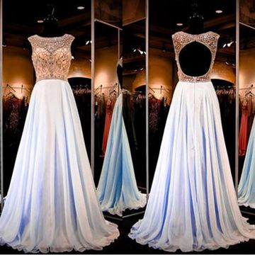 Long A-line Scoop Sleeveless Backless Crystal Detailing Prom Dresses 2018 Open Back Chiffon