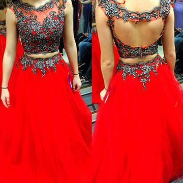 Long Sexy Red A-line Sleeveless Backless Embroidery Prom Dresses 2019 Open Back Two Piece