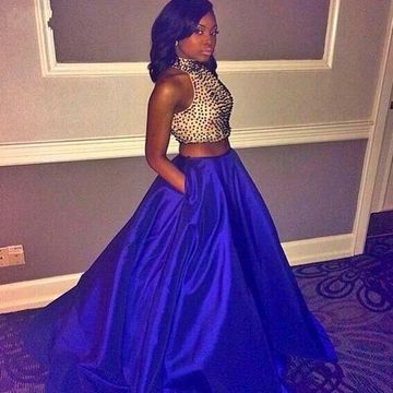 Long African Blue A-line Halter Sleeveless Zipper Beading Prom Dresses 2018 Sexy Two Piece