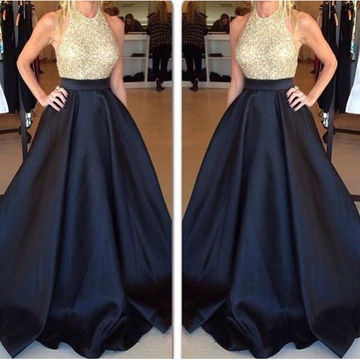Long Sexy Black A-line Sleeveless Sequins Prom Dresses 2019