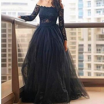 Blue A-line Off-the-Shoulder Long Sleeves Zipper Lace Prom Dresses 2018