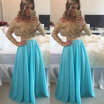 Sexy Blue A-line Long Sleeves Zipper Beading Prom Dresses 2018 Chiffon