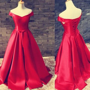 49%OFF Long Vintage Red A-line Corset Prom Dresses 2018 ...