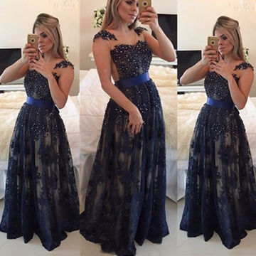 Long Cute Blue A-line Sleeveless Pearl Detailing Prom Dresses 2019 Sexy