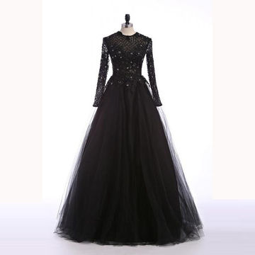 Black Ball Gown Long Sleeves Zipper Sequins Prom Dresses 2018