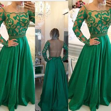 Sexy Green A-line Long Sleeves Illusion Prom Dresses 2018