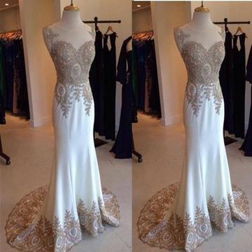 Long White A-line Straps Sleeveless Zipper Gold Appliques Embroidery Prom Dresses 2019 Mermaid