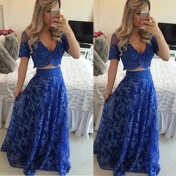 Long Blue A-line V-Neck Half Sleeves Zipper Prom Dresses 2018 Lace Two Piece