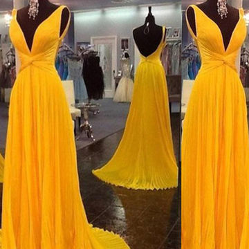 Long Sexy Yellow A-line V-Neck Sleeveless Backless Pleats Prom Dresses 2018 Open Back Chiffon
