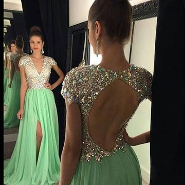Long Elegant Green A-line V-Neck Short Sleeves Backless Sequins Prom Dresses 2018 Open Back Chiffon Sexy