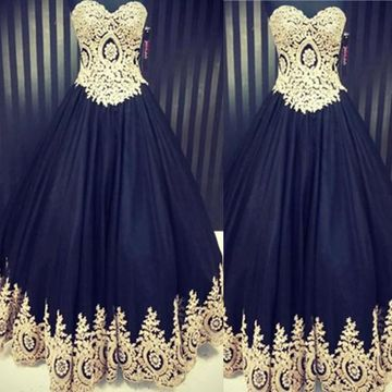 Long Vintage Black Ball Gown Sweetheart Sleeveless Zipper Prom Dresses 2018 Lace