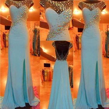 Long Sexy Blue Sheath Capped Sleeves Backless Crystal Detailing Prom Dresses 2018 Open Back Chiffon