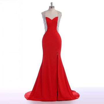 Long Sexy Red Mermaid Sweetheart Sleeveless Zipper Crystal Detailing Prom Dresses 2018