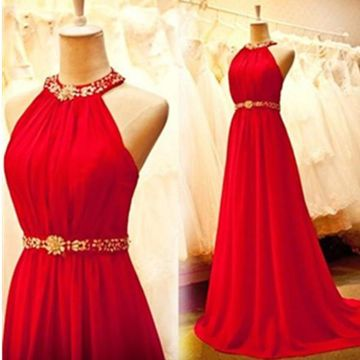 Long Red A-line Halter Sleeveless Zipper Crystal Detailing Prom Dresses 2018