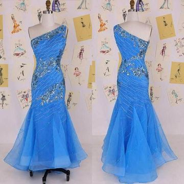 Long Cute Blue Mermaid One Shoulder Sleeveless Beading Prom Dresses 2018 Sheath Sexy