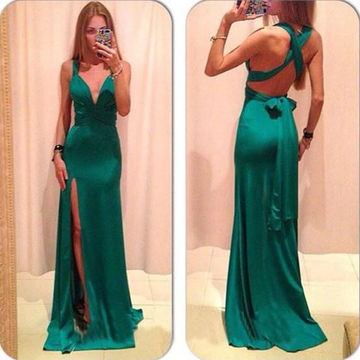 Long Sexy Green Sheath Straps Sleeveless Backless Sash/Ribbon Prom Dresses 2018 Open Back