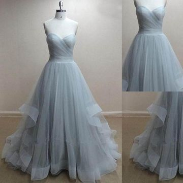 Long Grey Ball Gown Sweetheart Sleeveless Zipper Ruched Prom Dresses 2018