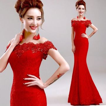 Long Sexy Red Mermaid Short Sleeves Zipper Beading Prom Dresses 2018 Sheath Lace