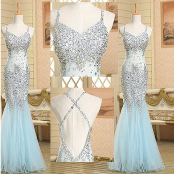 Long Trumpet/Mermaid Spaghetti Straps Sleeveless Backless Sequins Prom Dresses 2018 Open Back Sexy