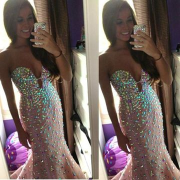 Long Trumpet/Mermaid Strapless Sleeveless Zipper Sequins Prom Dresses 2018 Sexy