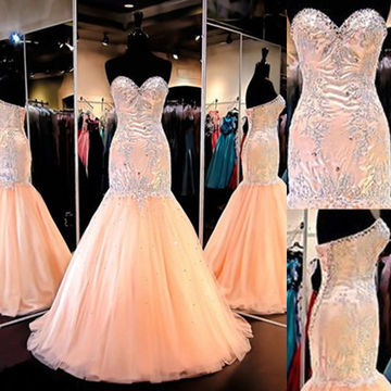 Long Trumpet/Mermaid Sweetheart Sleeveless Lace Up Embroidery Prom Dresses 2018