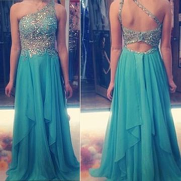 Long A-line One Shoulder Sleeveless Backless Beading Prom Dresses 2018 Open Back Chiffon Sexy