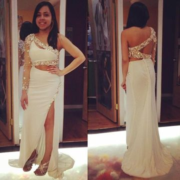 Long Sexy White Sheath One Shoulder Backless Beading Prom Dresses 2018 Open Back Chiffon For Short Girls