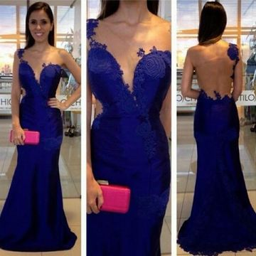 Long Sexy Blue Mermaid One Shoulder Sleeveless Zipper Appliques Prom Dresses 2018