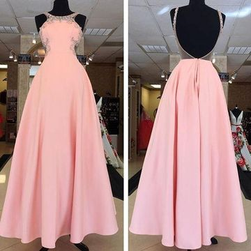 Long Elegant Pink Ball Gown Halter Sleeveless Backless Beading Prom Dresses 2019 Open Back