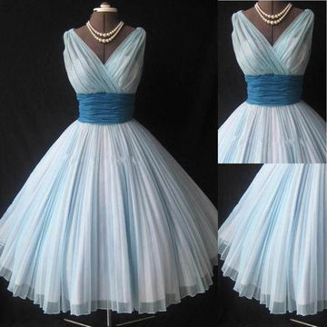Cheap Cute Blue A-line V-Neck Sleeveless Pleats Prom Dresses 2018 Vintage