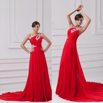 Long Elegant Red A-line One Shoulder Sleeveless Zipper Appliques Prom Dresses 2018 Chiffon