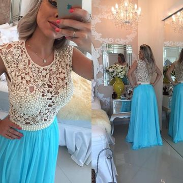 Long Junior Blue A-line Sleeveless Zipper Pearl Detailing Prom Dresses 2019 Chiffon Sexy For Short Girls