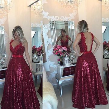 Long Sexy Red A-line Straps Sleeveless Backless Sequins Prom Dresses 2018 Open Back