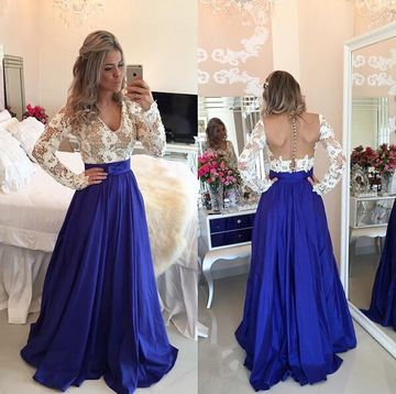 Sexy Blue A-line V-Neck Long Sleeves Backless Embroidery Prom Dresses 2018 Open Back